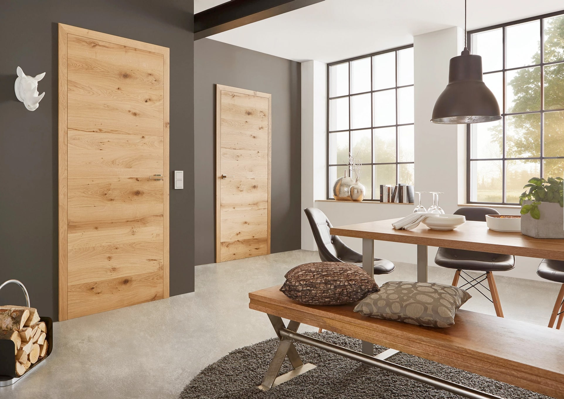 Modern Interior Doors With Real Wood Veneer Finish